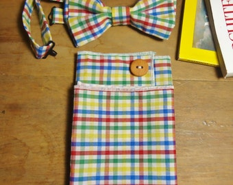 Colorful Bow Tie with Buttoned Pocket Square Set