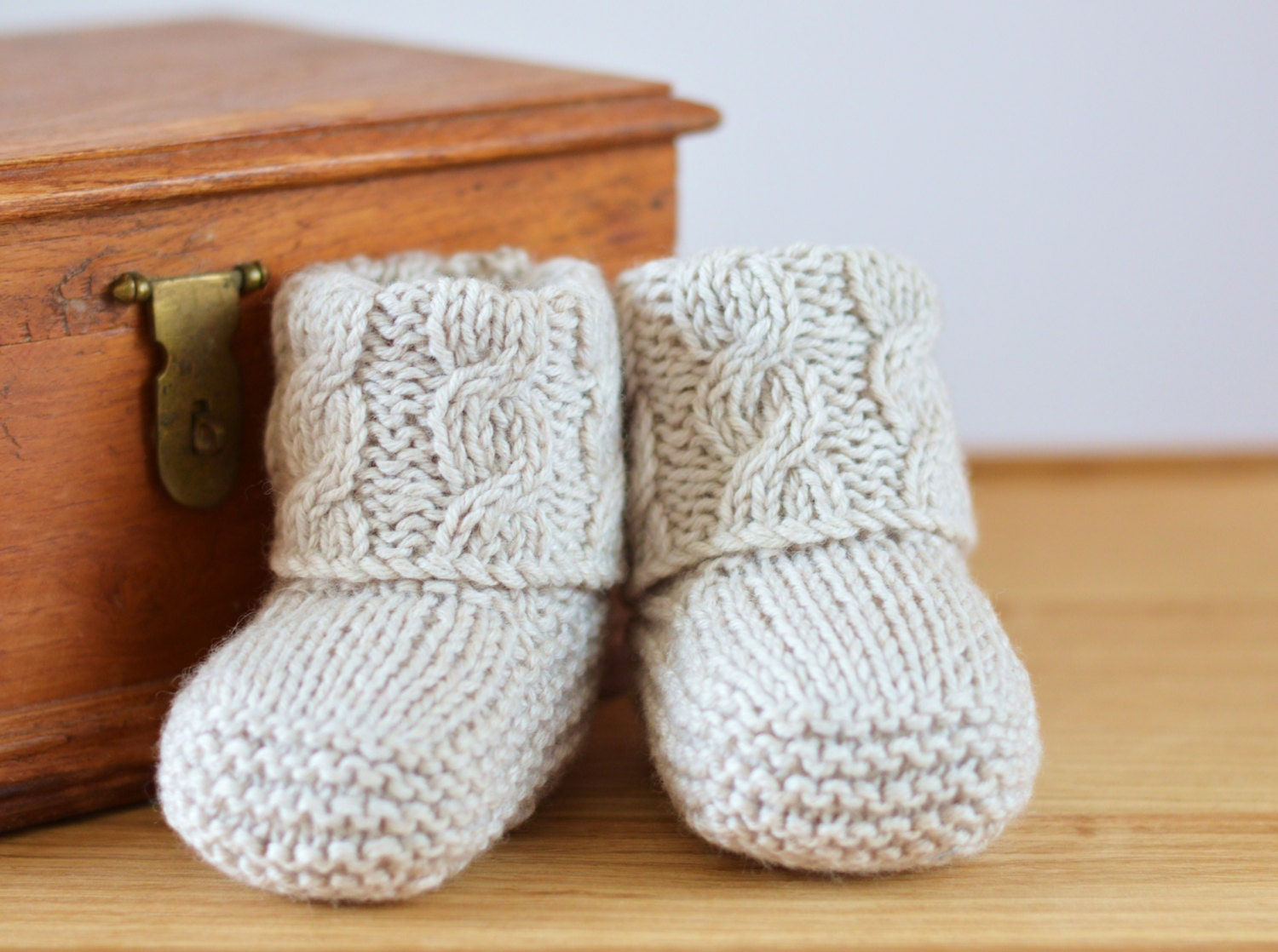 Baby Booties Cable Knitting Pattern : KNITTING PATTERN Baby Booties Cable Aran Baby by ...