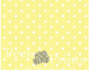 5ftx5ft Pastel Yellow Polka dots Studio Vinyl Photography Backdrop, Yellow Background, Poly Backdrop, Photo Booth Background