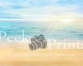 7ft.x5ft. Dreamy Beach- Sand and Water Vinyl Photography Backdrop - Beach Printed Backdrop - Beach Backdrop - Summer Party Drop