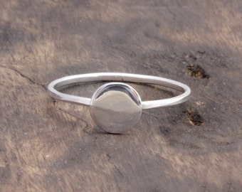 925 stering silver full moon ring , circle ring, disk ring, gift for her (R_00030)
