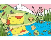 PIZZA gazing in POND from L'ABC de Monsieur Pizza Children's book
