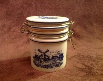 Ceramic Windmill Crock With Hinged Lid