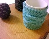 Mint Knit Cozy Cup Holder, Blue coffee mug holder, Mint mug warmer, cozy tea cup holder, Coffee Cozy Sleeve