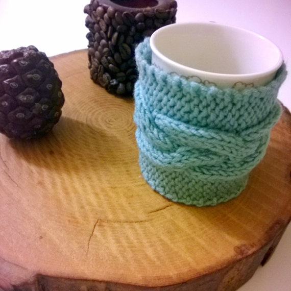 Items similar to Mint Knit Cozy Cup Holder, Blue coffee mug holder, Mint mug ...