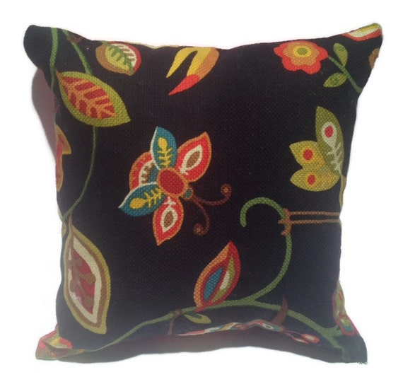 Decorative Pillows Red And Black : Red and black decorative throw pillow with floral shades of
