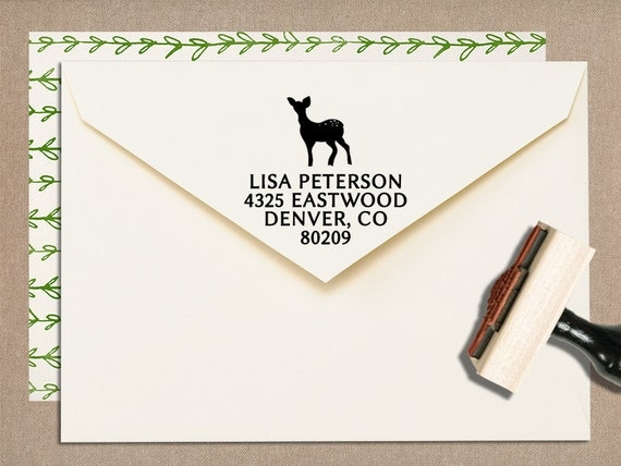 "Custom Stamp Return Address // Hand Drawn Deer // Wood Rubber Stamp with Handle // 3"" x 1.5"""