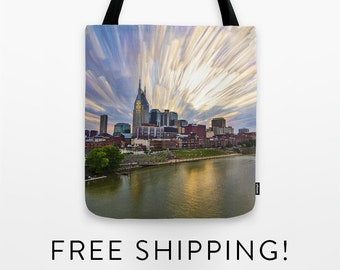 Tote Bag - Nashville Painted Sunset - shopping bag - beach bag - gym bag - skyline - TN - city