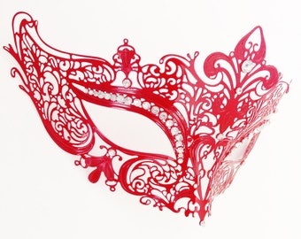 Red Masquerade Mask for Christmas Masquerade Party Costume Party Mask w/ Rhinestones