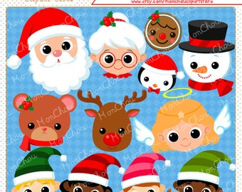 Christmas Faces Clipart Set - For Commercial and Personal Use Cliparts