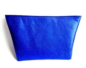 Cobalt Blue Leather Clutch, Blue Leather Bag