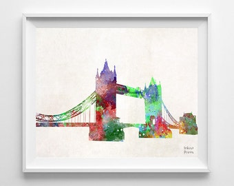 Tower Bridge, Print, Illustration, Art Print, London, England, UK, Watercolor, United Kingdom, Europe, Living Room, Back To School