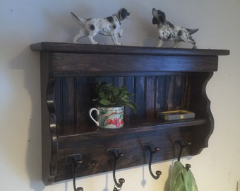 """24"""" Handcrafted Wood wall mount Coat Rack, Display Shelf Key, J Hooks, Jacobean and other stains and sizes"""