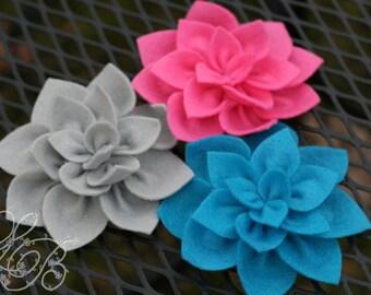 Set of 3 Handmade Felt Flower Blossom Hair Clips