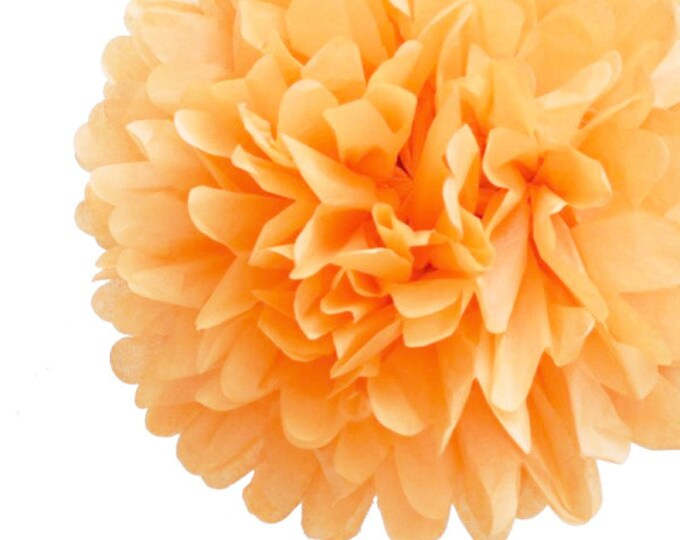 Peach Tissue Paper Pom, Peach Pom, Peach Tissue Paper Pom Pom, Peach Paper Flower, Tissue Flower, Wedding and Birthday Party Decor, Poms