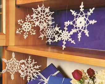 Snowflakes crochet pattern Vintage pattern Snowflakes ornaments pattern Instant download pattern
