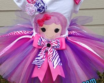 Lalaloopsy tutu, Personalized Lalaloopsy outfit, Lalaloopsy pillow birthday tutu set, pink Lalaloopsy outfit.
