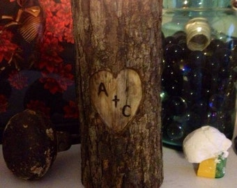 Couples In Love Natural Log Candle Holder
