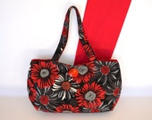 Red daisy bag, Red Black tote, Red handbag