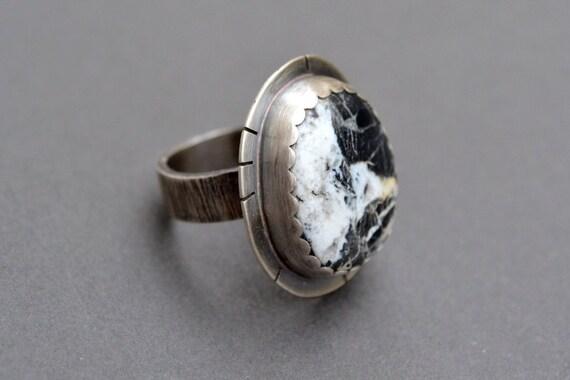 white buffalo turquoise ring size 5 white turquoise ring