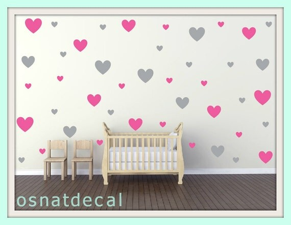FREE SHIPPING Wall Decal 130 Hearts Color Gray & Pink. Wall Sticker, Nursery Wall Decal. Vinyl Wall Decal. Wall Art.