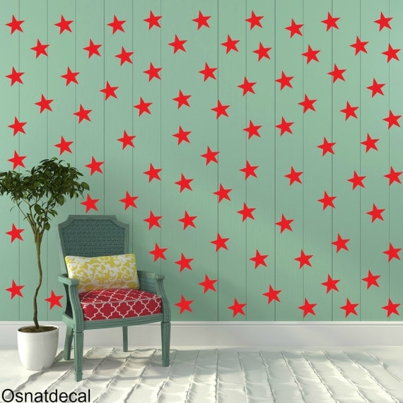 FREE SHIPPING Wall Decal Red Stars. 77 Stars. Nursery Wall Decal. Wall Art. Vinyl Wall Decal.