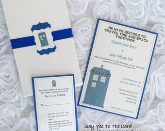 DIY Dr Who Invitation in Box / Assembly avaliable / Digital file avaliable