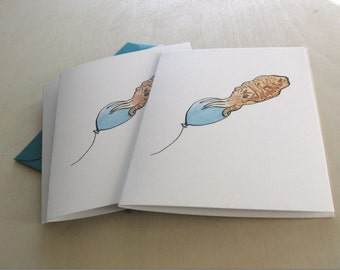 Birthday card-- Cuttlefish with a Balloon Reproduction of Original Art