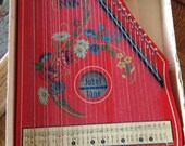 Antique Red 1950s German Jubeltone Zither