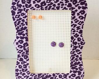 Earring Holder, earring organizer. Purple Cheetah Print.