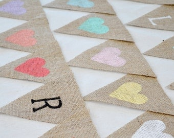 Custom Bunting Banner Flags Hessian Burlap Rustic Wedding Birthday Baby Shower Name Personalized Customized Vintage Handmade Priced Per Flag