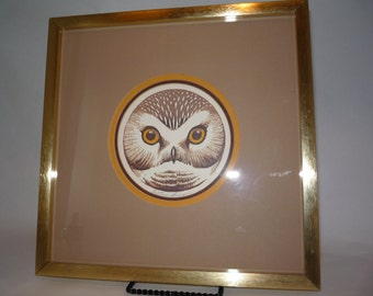 Vintage Signed Matted Framed Owl Print  ~Look at that face!~