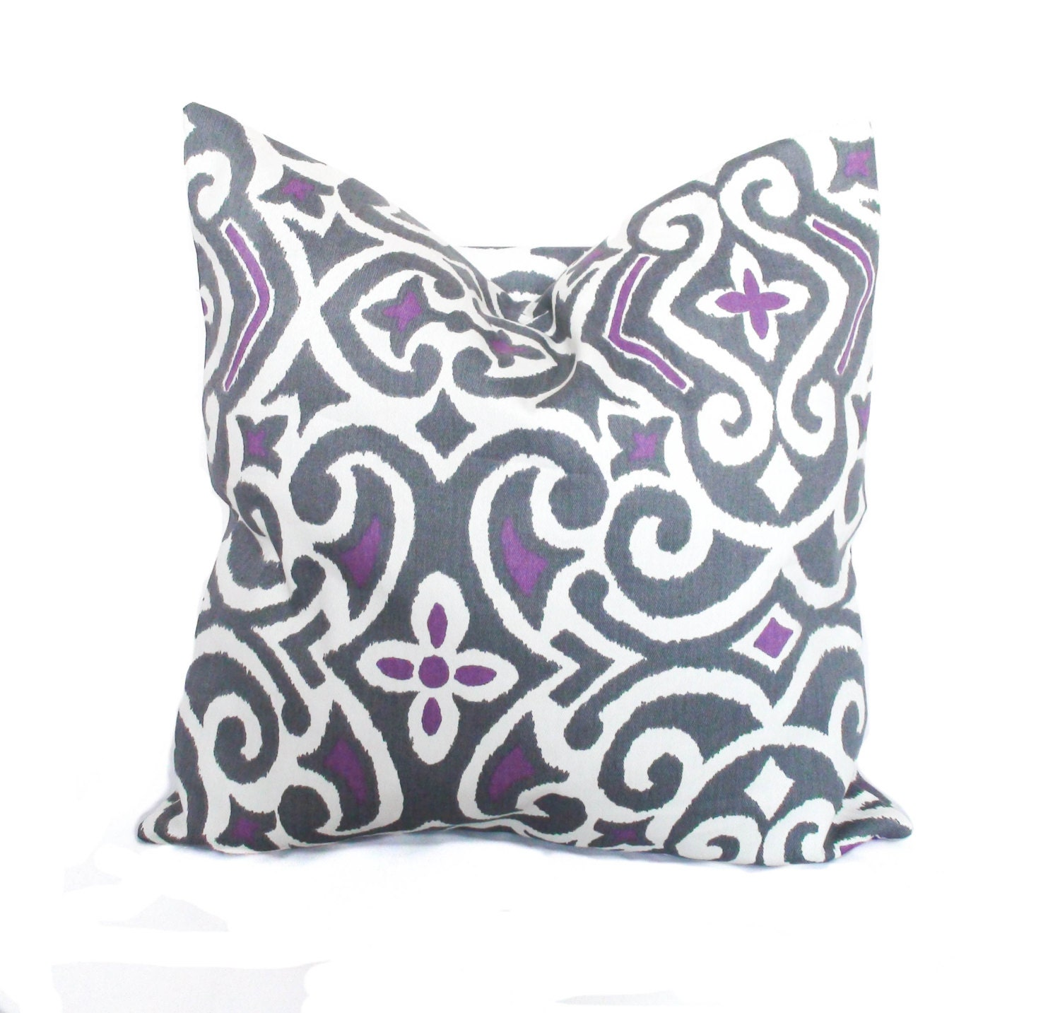 Purple throw pillows Purple pillow cover Grey toss pillow