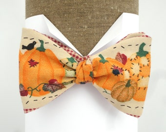 Bow Tie, Self Tie Bow Tie,  Pumpkin Halloween Bow Tie will fit neck size up to 20""