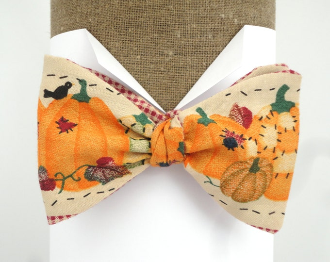 Featured listing image: Bow Tie, Self Tie Bow Tie,  Pumpkin Halloween Bow Tie will fit neck size up to 20""