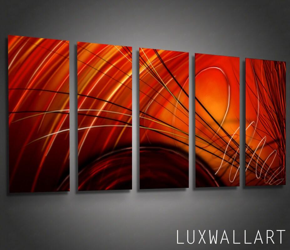 Abstract metal wall art ninja red for Red metal wall art