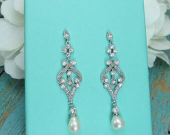 Pearl Bridal Earrings, Freshwater Pearl cz earrings, cubic zirconia earrings, wedding jewelry, bridal jewelry,wedding earrings, 205300179