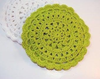 Lime Green Crocheted Cotton Trivet