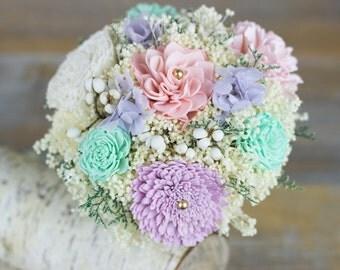 Bridesmaids Bouquet, Lavender/Mint/Pink/Ivory Sola Flower Bouquet, Keepsake Bouquet, Rustic Bouquet, Handmade Bouquet