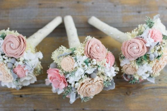 Romantic Wedding Bouquet, Bridesmaids Bouquet, Blush Pink,Dusty Pink,Peach Sola Flower Bouquet,Keepsake,Alternative Bouquet