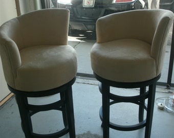 2 suede bar stools