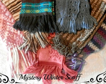 Winter scarf, Womens scarf, Mystery scarf, Long scarf, Fringe scarf, Wide scarf, Thick scarf, Pattern scarf