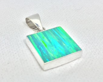 Green Opal Pendant with Sterling Silver Setting // Japanese Forest Green Fire Opal