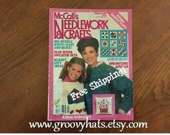 McCall's Needlework & Crafts Magazine Vintage February 1985 - Free Shipping!