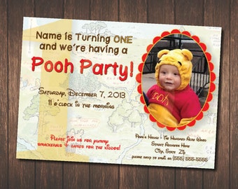 Winnie the Pooh Birthday Invitation / Pooh Bear / Classic Pooh Bear / Traditional / Birthday Invite / Digital Download / Hundred Acre Wood