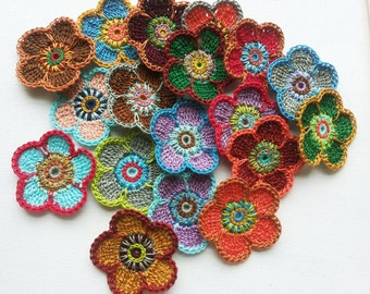 Crochet flower applique 12PCS in mixed of different colours decoration trimming embelishments