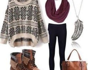 Oversized Sweater outfit with leggings and boots (combat limited)