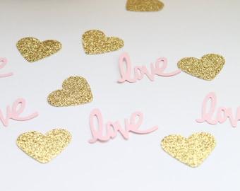 Pink and Gold Confetti- Love Confetti- Bridal Shower Decor- Pink and Gold Baby Shower Decor- Wedding Decor- Pink and Gold Wedding Decor