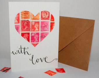 With love: A heart shaped card made with Postal stamps