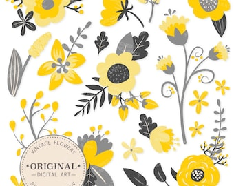 Premium Yellow Flowers Clipart & Floral Vectors - Yellow Floral, Vintage Flowers, Flower Clip Art, Vector Flowers